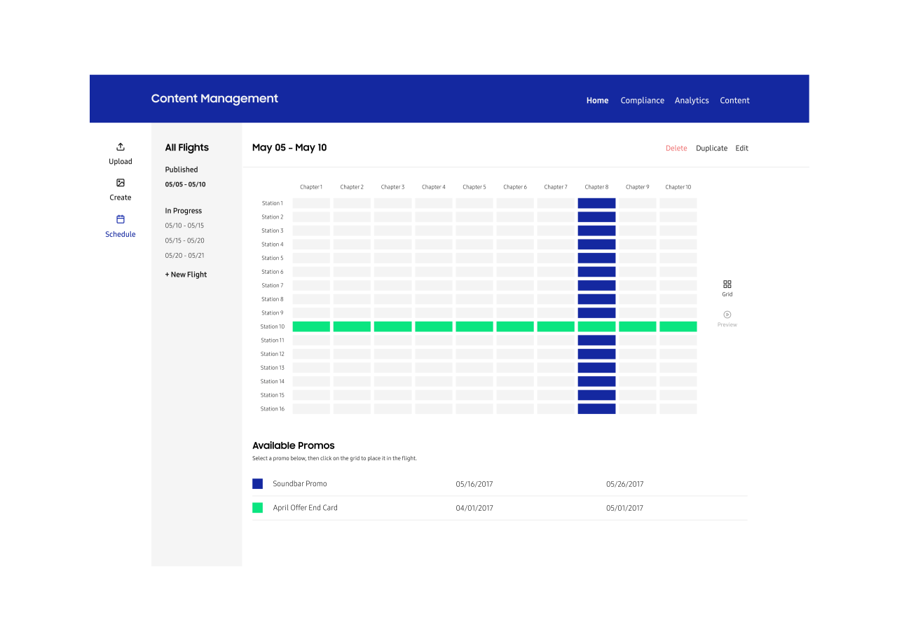 cms interface for scheduling content