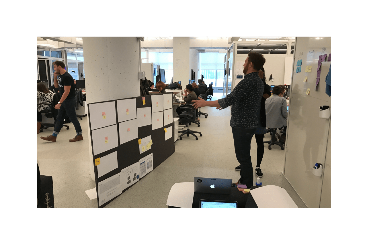 team working with a paper store mockup