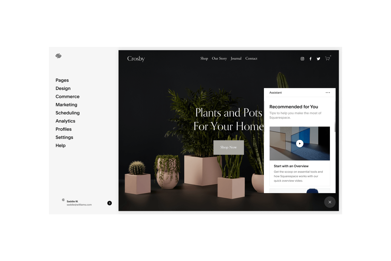 the assistant feature on a squarespace site