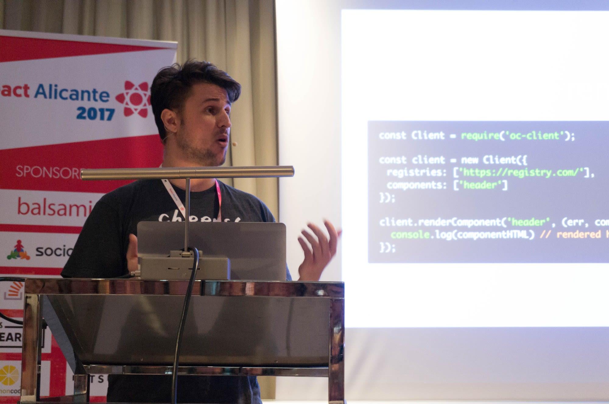 Nick Balestra speaking at React Alicante