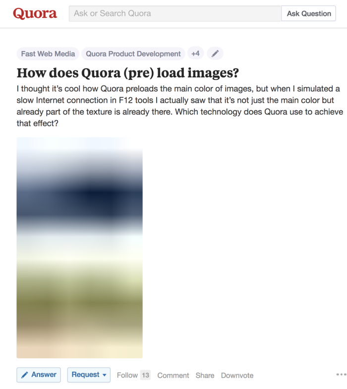 Screenshot from Quora showing the blurry placeholder
