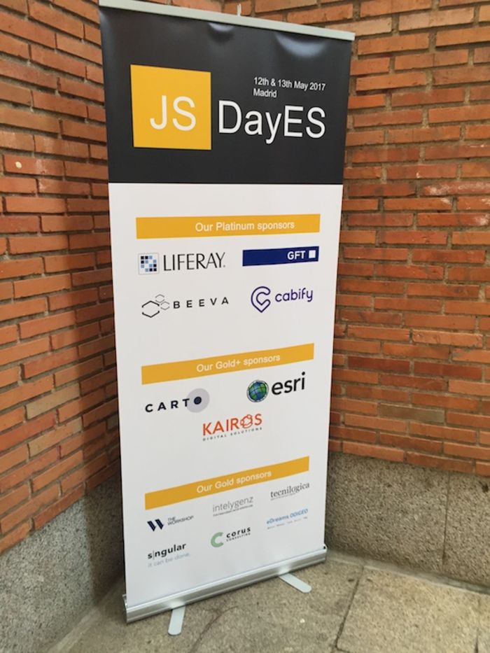 The JSDayES 2017 sign by the entrance of the venue