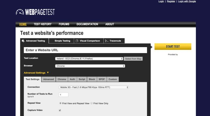 A screenshot of WebPagetest.