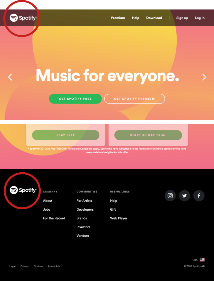Spotify's home page on www.spotify.com. The logo is shown in the header and the footer