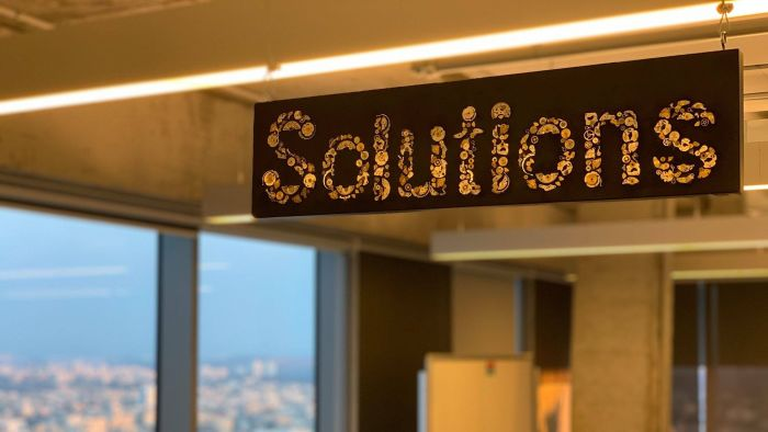Solutions Engineer sign at Facebook