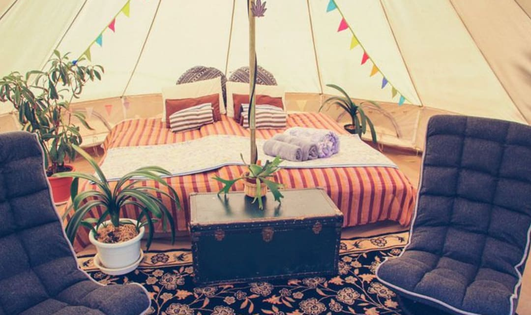 a bed inside a large tent with some plants and bunting