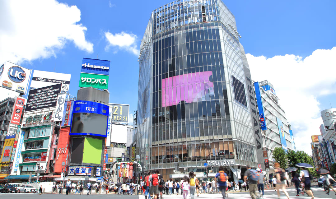 famous Shibuya streets in Japanese summer