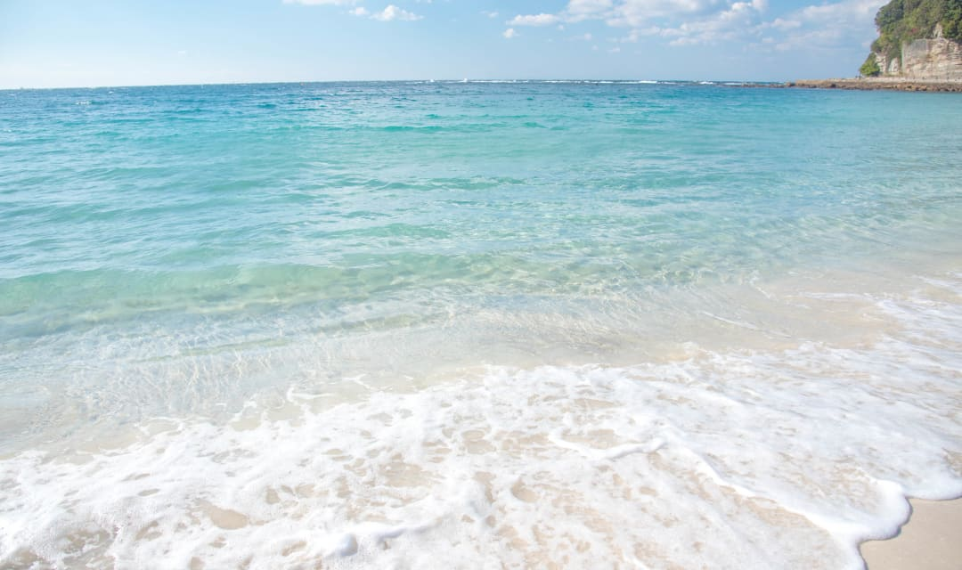 soft sand beaches, crystal blue waters in Japan