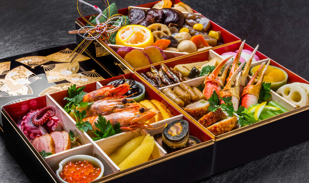 wooden boxes with compartments of seafood and vegetables