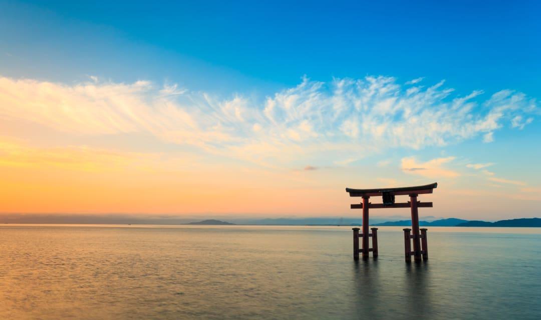 beautiful freshwater beaches on Lake Biwa located in Kyoto, Japan