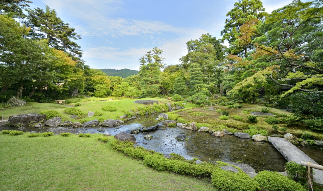 garden with calm river, rocks and trees