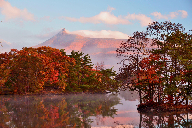 Herbstlaub im Onuma Quasi National Park in Hokkaido, Japan