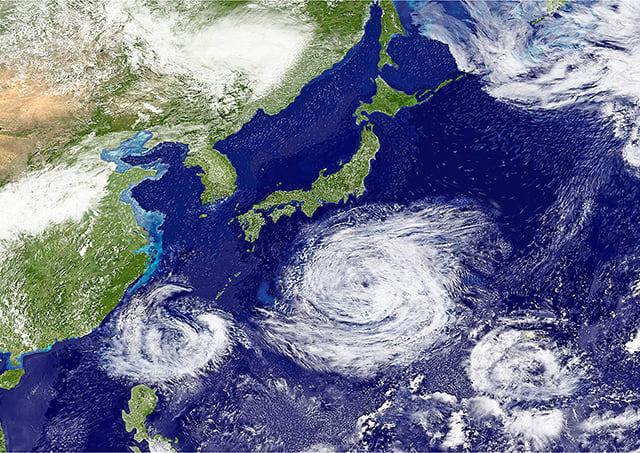 Where do typhoons usually strike