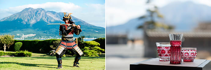 Visitors can have a photo taken in authentic samurai armor. (left) The workshop in the grounds sells Satsuma Kiriko, a traditional style of glassware from Kagoshima. (right)