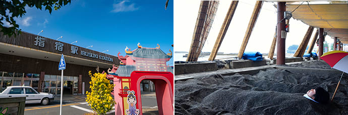 Ibusuki Station. (left) Hot sand baths have a 300-year history. Guests wear yukata and are covered in warm sand. (right)