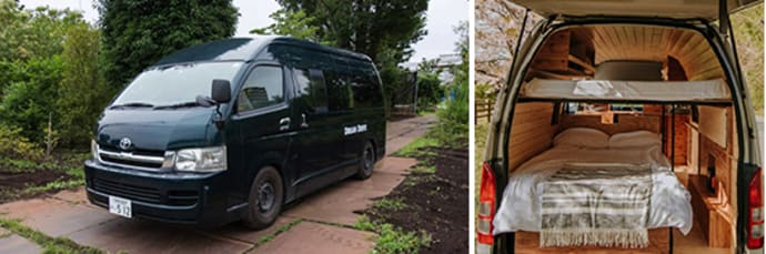 Total length of the Hiace is 5.8 yards (5.3 meters)  (left). A three-quarter bed in the back of the Hiace (right).