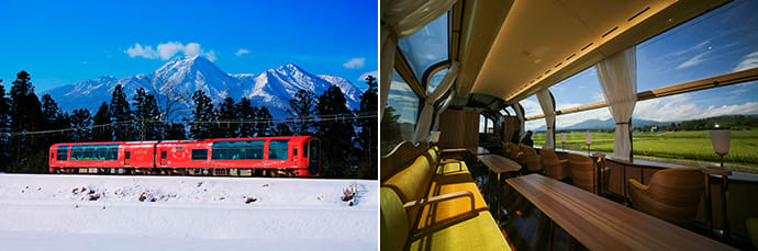 In winter the train runs through a beautiful winter wonderland. (left) The stylish interior is entirely created using materials from Niigata. (right)