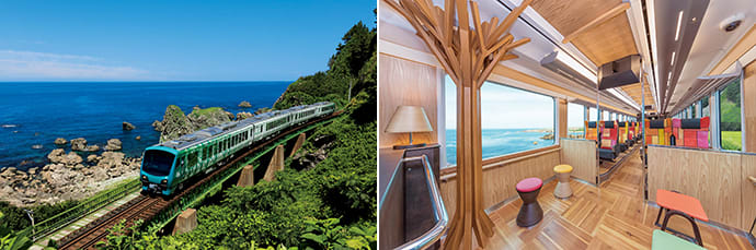 The train uses a hybrid diesel system to save energy. (left) The interior design features locally sourced beech and cedar wood.(right) Photo credit: East Japan Railway Company