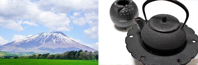 Mt. Iwate, also known as Nanbu Fuji (Southern Fuji) (left). A Nanbu tekki cast iron teapot made by a metal artisan (right)