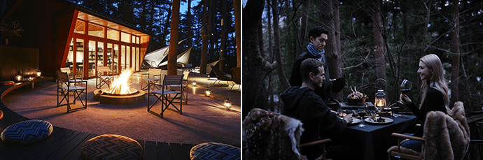 A roaring fire at Cloud Terrace. Photo credit: Hoshino Resorts (left)  Guests enjoying dinner in the forest. Photo credit: Hoshino Resorts (right)
