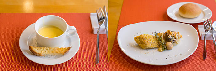 Soup served with a crunchy cheese stick (left), a delicately flavored dish of pan-fried flounder (right).