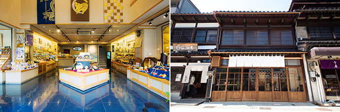 You can participate in gilding workshops at either Gold Leaf Sakuda's main store (left) or its Machiya store (right). A private workshop can be reserved for a group of 10 or more participants.