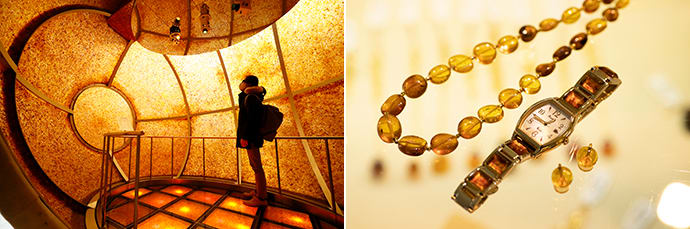 "The ""stone of the sun"" is a capsule where visitors can hear a legend about the origins of amber, accompanied with light and sound. (left)  Kuji amber has a wide array of color variations. (right)"