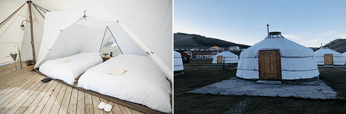 Glamping facilities are more comfortable than those of traditional camping sites.