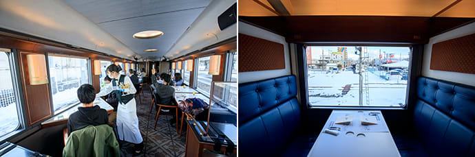Currently, seats in the open dining car are divided by acrylic partitions, and staff wear masks and gloves as COVID-19 countermeasures. (left) Wall panels in the private compartments feature Sashiko-ori motifs. Sashiko-ori is a traditional weaving techniq