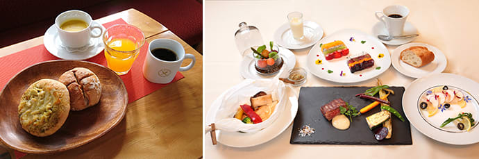 Breakfast, featuring artisanal breads. (left) A full course lunch. These photos are examples of the meals served until March 2021. Dishes are subject to change, depending on the available ingredients. (right)