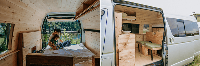 Vanlife makes family travel much easier. (left) Right: The interior of a Dream Drive camper van. (right)
