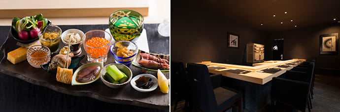 An assortment of small dishes, created by up-and-coming artists from Hokkaido (left). The interior décor is pared down so that guests can concentrate on the meal (right).