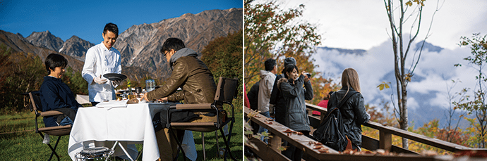 Enjoying breakfast in the Hakuba mountains. Photo credit: Happo-one Kaihatsu Co., Ltd.(left) Wandering mountain trails and taking in the mountain air. Photo credit: Happo-one Kaihatsu Co., Ltd. (right)