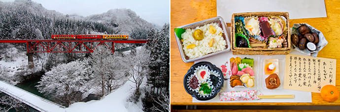 The train's colorful exterior was inspired by the colors of the setting sun and fresh snow. (left)   Italian dishes are served on the route from Niigata to Yamagata, and Japanese cuisine is served on the Yamagata to Niigata route. (right)  Photo credit: E