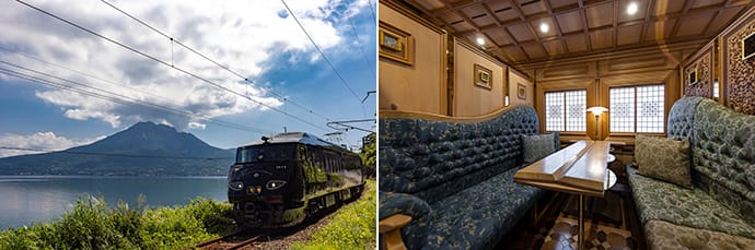 The train travels a total of 1198 kilometers (744 miles). The private compartments feature luxurious interiors.