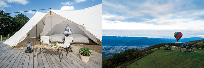 There are seven tent types at the Hakuba resort. Photo credit: Happo-one Kaihatsu Co., Ltd.(left) A hot air balloon experience. Photo credit: Happo-one Kaihatsu Co., Ltd. (right)