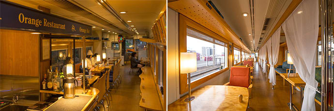 The dining car. (left) The lounge car. (right)