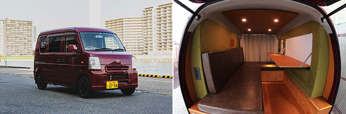 Smaller vans can manage Japan's narrow roads with ease. (left) The bed folds up to become a sofa. (right)