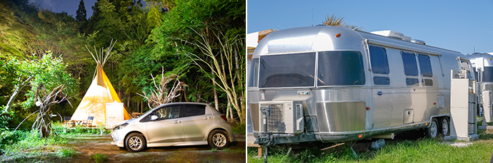 A teepee-style tent. (left) A retro-style camper trailer. (right)