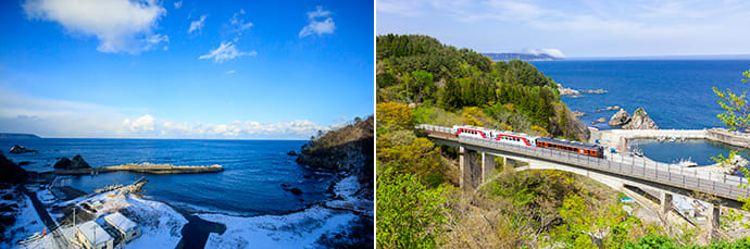 The view from Osawa Bridge. (left) The Sanriku Railway train crosses Osawa Bridge. (right)