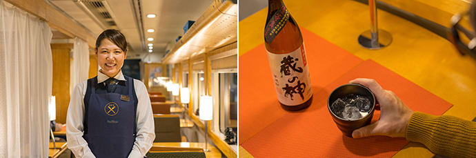 Train crew can speak conversational English and also carry a translation device. (left) Passengers can choose from a menu of around 15 types of shochu from Kagoshima and Kumamoto. (right)