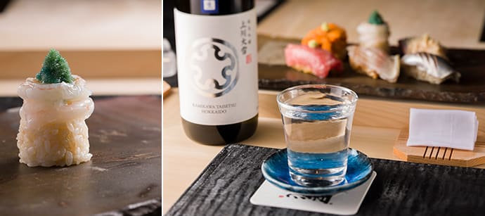 """Whole shrimp topping"" has a design registration recognizing its creative beauty. (left) Sushi and Japanese sake is the ultimate pairing."