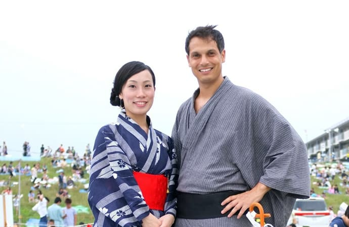 John Daub (right) and his wife, Kanae (left)