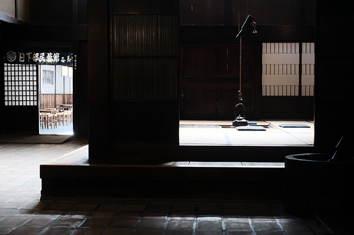 The interior of the Kusakabe Folk Museum crafted by Hida's skilled woodworkers.