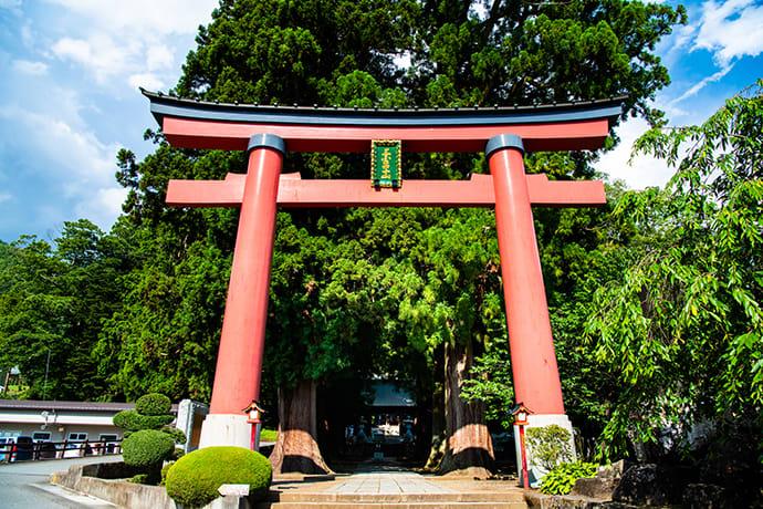 The torii gate at Kawaguchi Asama Shrine.