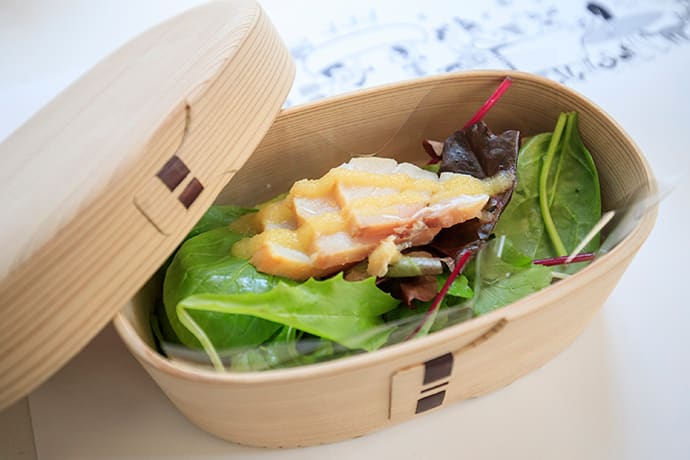 The salad is served in a traditional box from Akita called a magewappa, made from cedar and Japanese cypress.