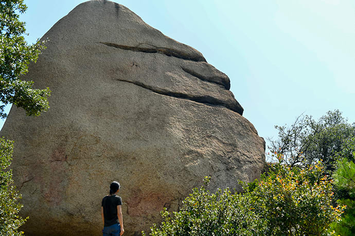 """The """"smiling rock"""" at Mt. Ojigatake. Rocks shaped like a sheep and a dog can be found on the mountainside."""