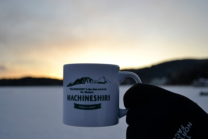 Drinking coffee on a frozen lake is a memorable winter experience.