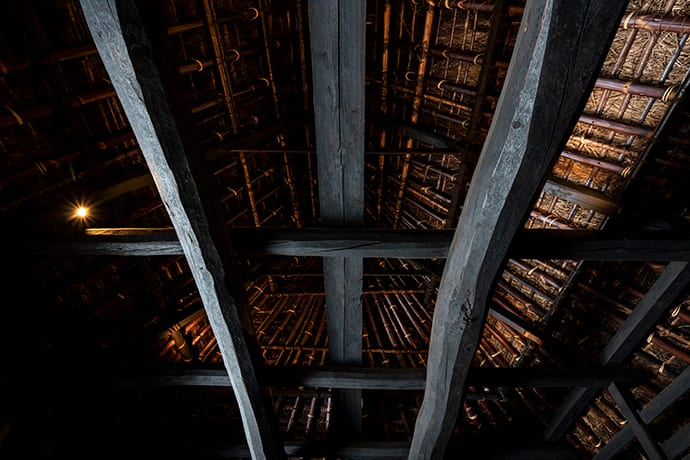 The pillars and beams date back to the construction 300 years ago.