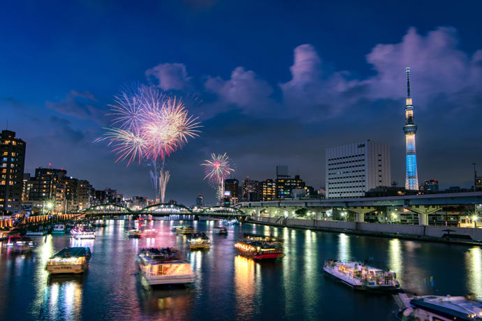 Around 20,000 fireworks are launched at the Sumidagawa Fireworks Festival